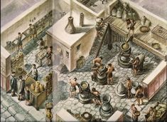Drawing of the Average Work Day in an Ancient Roman Bakery. Photograph. Pompeii Nowadays and 2000 Years Ago. Firenze: Bonechi Edizioni- Il Turismo, 1977. 56-57. Print.  This shows how a Romran bakery could have looked.