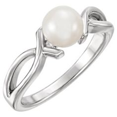 14kt White Freshwater Cultured Pearl Ring