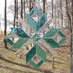 Stained Glass Quilt Star Suncatcher  Teal and by HillLillyDesigns, $30.00
