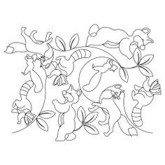 forest animal Hand Quilting Patterns | fox, raccoon, bear, squirrel
