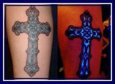 Cross Black Light Tattoo