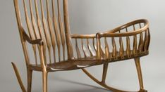 """This a lovely idea.Master craftsman Scott Morrison describes his Rocker Cradle: """"Here I updated a style Windsor Nanny Rocker using Sam Maloof's Classic Rocking Chair design as a basis. Sam Maloof, Chair Design, Furniture Design, House Furniture, Baby Furniture, Painted Furniture, Outdoor Furniture, Geek Furniture, Decoupage Furniture"""