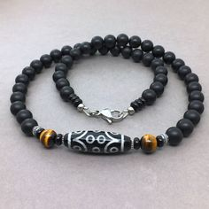 Handmade Jewelry Stainless Steel Dragon Head Tusk Pendant on Black Onyx Gemstone Necklace 22in for Men
