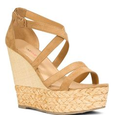 JustFab - Cambria  Price: $53  A classic style gets a modern lift in this swoon-worthy 5 inch style with a 1 1/2 inch platform. Strappy open-toe wedge sandal with raffia detail.