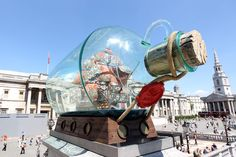 Yinka Shonibare's 'Ship in a Bottle' was on display at Trafalgar Square between 2010 and 2012. Very neat. #shipinabottle #trafalgarsquare #london