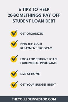 Are you a 20-something? Looking to pay off student loan debt? Here are our top tips for finally getting that debt off your back- we hope this lightens the load. 💼 Paying Off Student Loans, Student Loan Debt, Student Loan Forgiveness, Getting Organized, The Borrowers, Budgeting, Tips, Budget Organization, Shop Organization