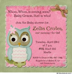 Owl Baby Pink & Green Shower Card