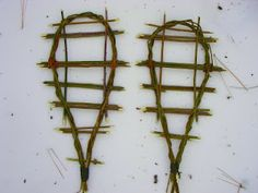 Survival snowshoes made from willow branches.