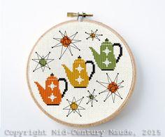 Tea Pot Cross Stitch Pattern Retro Design Instant Download Needlepoint Mid Century Modern atomic era style
