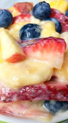 """Fruit Salad with Honey Yogurt Dressing. Made this today, AWESOME!!! Hubby """"scared"""" to try something healthy! LOL!!! I used frozen berries and mangoes, honey crisp apple. Will make again and again!"""
