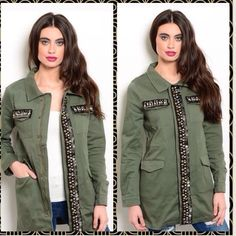 •olive green army jacket• Brand new olive jacket with bead and sequin accents.  Zipper and button closure 4 true pockets Says X small but I wear a small/medium and it fits me right. 27 1/2 inches from shoulder to bottom 16 inches bust (flat) 23 inch sleeves Please no trades. No PP. and no low ball offers. Jackets & Coats Utility Jackets