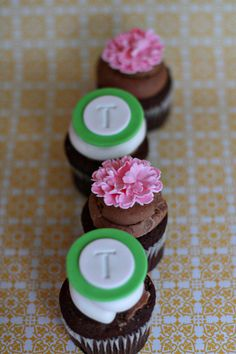 Carnation and Monogram Fondant Cupcake, Cookie or Mini-Cake Toppers for Birthday, Engagement, Baby Shower or Wedding Parties. $20.00, via Etsy.