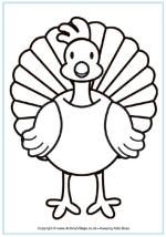 Turkey coloring page. This website has different seasons/holidays and activities to go along with it!