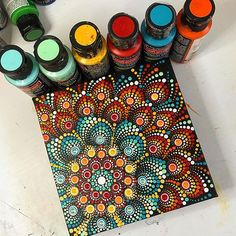 I've had a bit of a flu bug for the last couple of days. I think the fever is gone and I am on the mend. I even felt good enough to get up and paint for a while today. Mandala Art, Mandala Canvas, Mandala Rocks, Mandala Painting, Mandala Pattern, Mandala Design, Dot Art Painting, Painting Patterns, Stone Painting