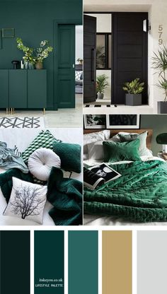 Dark green color palette with muted gold - Home color decor Beautiful and inviting color palette of dark green colour with muted gold. The perfect colour palette for lifestyle project, home painting color, wedding or any party color theme etc. Gold Bedroom, Bedroom Green, Bedroom Colors, Diy Bedroom Decor, Home Decor, Bedroom Colour Palette, Bedroom Ideas, Gold Color Palettes, Green Colour Palette