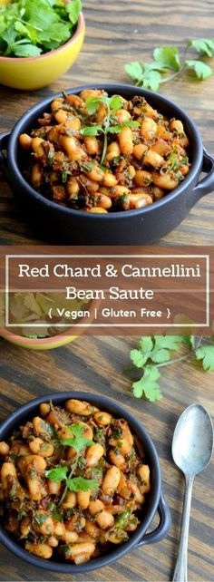 Red Chard and Cannellini Bean Saute - Vegan, Gluten Free - http://www.cookingcurries.com
