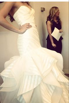 """""""Keaton"""" gown by Hayley Paige. Our specialty striped organza. This is the perfect strong independent women gown Bridal Gowns, Wedding Gowns, Edgy Dress, Yes To The Dress, Wedding Inspiration, Wedding Ideas, Wedding Stuff, Wedding Things, Fashion Inspiration"""