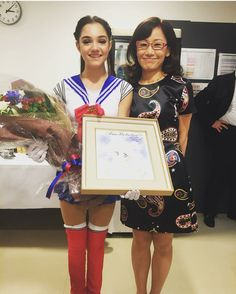 """tiny012: """" Naoko Takeuchi with World Champion Russian figure skater Evgenia Medvedeva after her Sailor Moon Inspired Skating routine Source """""""