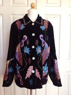 MARKET by CHICOS Black Velvet Artsy Embroidered Appliqué Beaded Jacket Size 2 #Chicos #BasicJacket