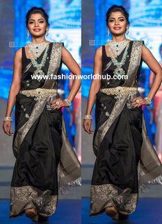 Sanchita Shetty in a black pattu saree with silver zari border with diamond jewellery at madras bridal fashion show Pachaiyappa's Silks pattu sarees Work Blouse, Bridal Style, Silk Sarees, Blouse Designs, Fashion Show, Sari, Indian, Black, Saree