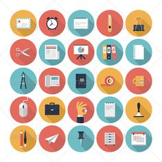 Need more of icons this type?Get a full collection here: http://www.flat-icon.com/  Modern flat icons vector collection with long