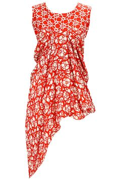 ASHISH SONI Red and white lattice print blouse available only at Pernia's Pop-Up Shop.