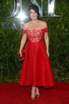 Monica Lewinsky red hot in an off the shoulder dress at the 2015 Tony Awards. She looks incredible!
