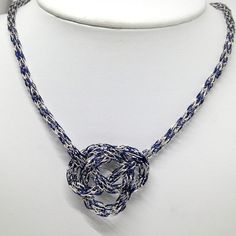 Silver and navy Viking knit chain Celtic Knot by DonnaDStore