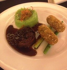 Grilled Lamb mignonette with peppercorn jus