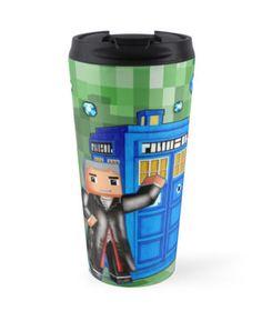 8bit 12th Doctor with Blue Phone box  Travel Mugs #mugs #tardis #doctorwho #tardisbadwolf #britishflag #unionjack #10thDoctor #11thDoctor #12thDoctor #minecraft #8bit #cube #lego #games #sandbox #creeper #mojang
