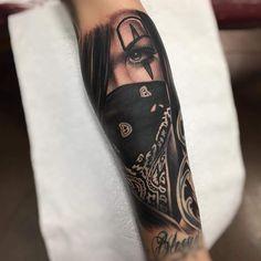 Girl Face Tattoo, Girl Arm Tattoos, Leg Tattoos, Body Art Tattoos, Sleeve Tattoos, Gangsta Tattoos, Chicano Tattoos, Badass Tattoos, Cool Tattoos