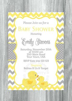 Printable Chevron Rubber Ducky Baby Shower Invitation, Rubber Duck Yellow and grey Chevron invitation. Digital File