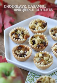 Chocolate, Caramel, and Apple Tartlets