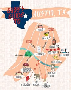Gaby's Guide to Austin map Texas Travel, New Travel, Travel Goals, Travel Usa, Family Travel, Dallas Travel, Lamar Colorado, Colorado River, Weekend Trips