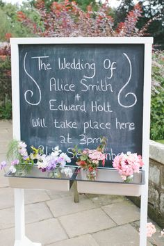 Black Chalk Sign Board Easel Delightfully Natural Pretty Garden Wedding http://www.elliegracephotography.co.uk/