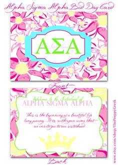 25 Alpha Sigma Alpha Bid Day Cards. $32.00, via Etsy.