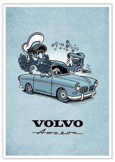 Volvo Cars, Volvo Trucks, Volvo Amazon, Volvo S60, Cars And Coffee, Car Posters, Love Car, Pulp Art, My Ride