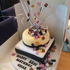 Liquorice allsort birthday cake 60th Birthday Ideas For Dad, Adult Birthday Cakes, 70th Birthday, Liquorice Allsorts, Big Cakes, Cupcake Cakes, Cupcakes, Celebration Cakes, Frozen Yogurt