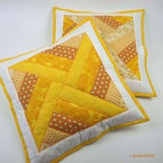 Golden quilted pillows