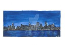 NY by Adisida on DeviantArt Permanent Marker, My Drawings, Pastel, Watercolor, Deviantart, Gifts, Pictures, Painting, Presents
