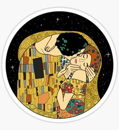 """""""The Kiss"""" Stickers by kingasart Tumblr Stickers, Cool Stickers, Printable Stickers, Laptop Stickers, Klimt, Sketch Manga, Aesthetic Stickers, Art Mural, Canvas Prints"""