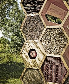 Bee hotel: Outside faces of the structure are hexagonal compartments providing a variety of nesting materials. These small shelters provide habitat for endangered wild bees, while the interior provides seating and a covered area for people. Bug Hotel, Wild Bees, Mason Bees, Raising Bees, Bee House, Save The Bees, Bees Knees, Deco Design, Bee Keeping