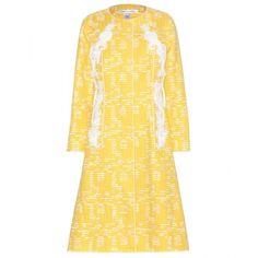 Oscar de la Renta Embellished Cotton-Blend Coat (2,570 CAD) ❤ liked on Polyvore featuring outerwear, coats, yellow, oscar de la renta coat, embellished coat, yellow coat and oscar de la renta