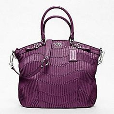 MADISON GATHERED LEATHER LINDSEY SATCHEL. So in love!! I think my black purse wants the big matching one in purple ;)