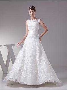 Bateau Neckline Sleeveless Lace Princess Wedding Dress with Lace Up Back $278.00 - ArtWeddings
