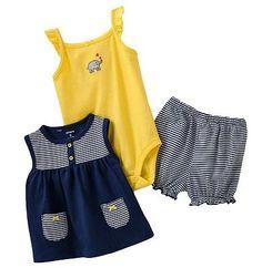 Carters Baby Girl Clothes Summer 3 Piece Set Navy Blue 3 6 9 12 18 24 Months | eBay