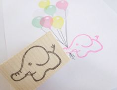 Elephant stamp Handmade cute elephant by JapaneseRubberStamps
