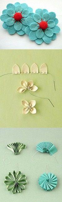 tres formas de hacer flores con fieltro