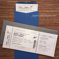 Boarding Pass Wedding Invitation Airline by papercakedesigns