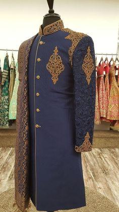 Navy Blue Dupion Silk Sherwani With Chikankari Sherwani - WellGroomed Designs Inc Sherwani For Men Wedding, Wedding Dresses Men Indian, Wedding Outfits For Groom, Wedding Dress Men, Wedding Suits, Punjabi Wedding, Indian Weddings, Wedding Men, Farm Wedding